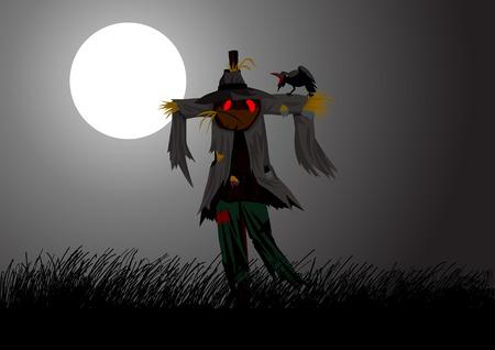 espantapajaros: Ilustración de dibujos animados de un espantapájaros en el campo durante la luna llena