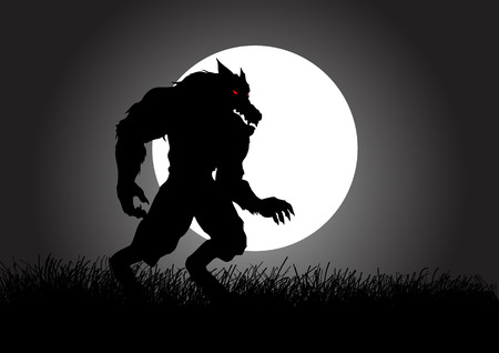 Stock vector of a werewolf lurking in the dark during full moon Vector
