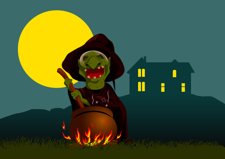 stirring: Cartoon illustration of a witch stirring concoction in the cauldron