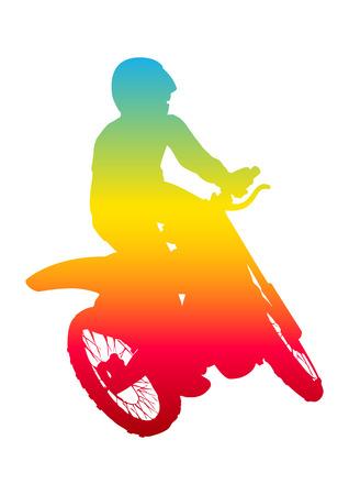 dirtbike: Pop art illustration of a man riding motocross Illustration