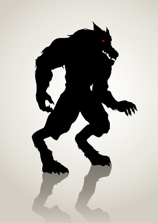 Silhouette illustration of a werewolf Vector