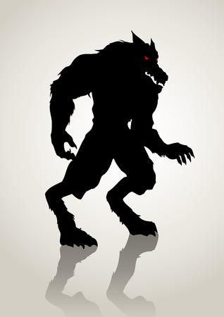 lurid: Silhouette illustration of a werewolf