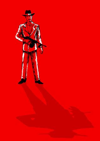 man gun: Sketch illustration of a man holding a tom gun