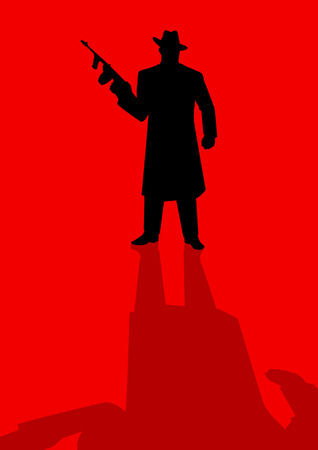 gangster with gun: Silhouette illustration of a male figure holding a tom gun