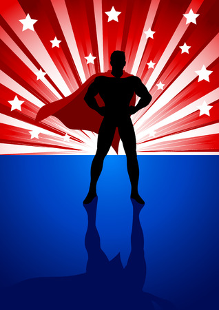 Silhouette illustration of a superhero standing in front of light burst Vectores