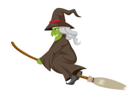 wicked witch: Cartoon of a witch flying with her broom