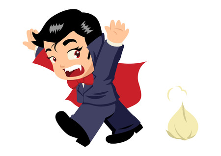 Cute cartoon of Dracula afraid of garlic Vector