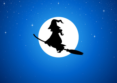 harridan: Cartoon of a witch flying with her broom during full moon