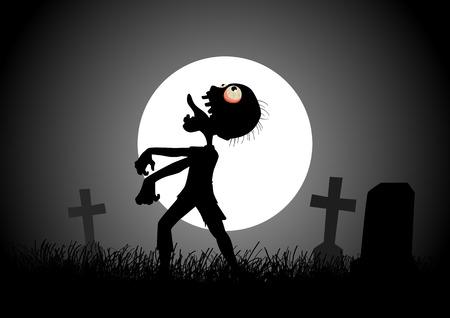 Fondo de Halloween con zombis, lápidas y la luna en el cementerio Ilustración de vector