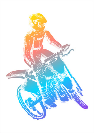 Colorful illustration of a man riding motocross