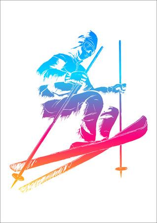 skier jumping: Vector illustration of a skier Illustration