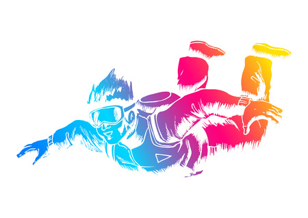Sketch illustration of a sky diver Illustration
