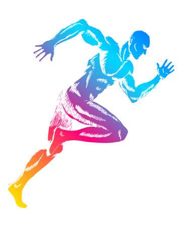 Muscle training: Bunte Figur eines Mannes Lauf Illustration
