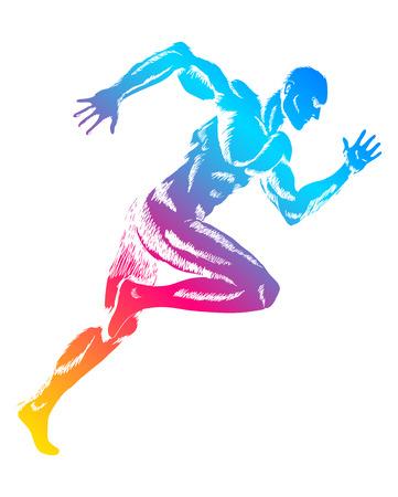 atletisch: Kleurrijke figuur van een man running