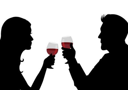 Silhouet illustratie van een man en vrouw met een glas wijn
