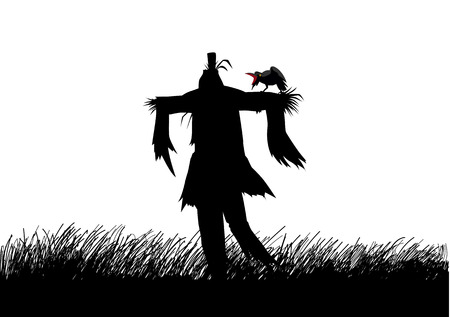paddy field: Silhouette illustration of a scarecrow on a field