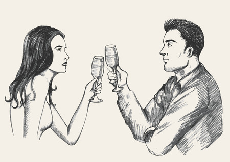 Sketch illustration of a man and woman toasting Vector