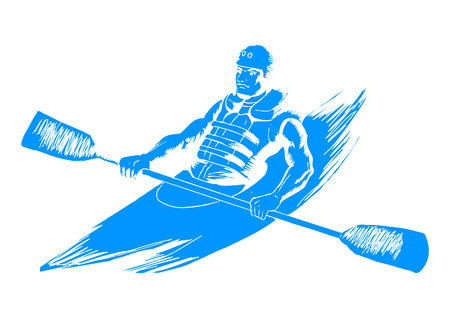 rafting: Sketch illustration of a man kayaking