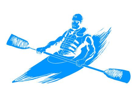 Sketch illustration of a man kayaking