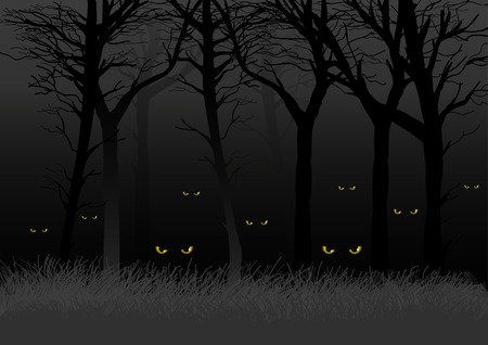 Scary eyes staring and lurking from dark woods, suitable for Halloween theme