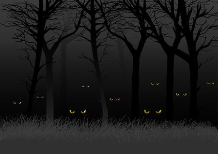 ojos negros: Ojos asustadizos mirando y est�n al acecho de maderas oscuras, adecuados para el tema de Halloween