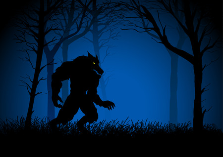 lurk: A Werewolf lurking in the woods, suitable for Halloween spooky background Illustration
