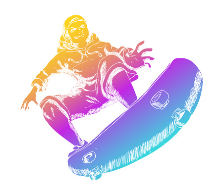 boy skater: Colorful figure playing skateboard