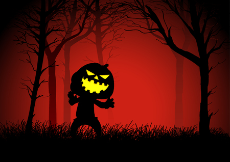 Pumpkin ghost in woods, for Halloween theme Vector