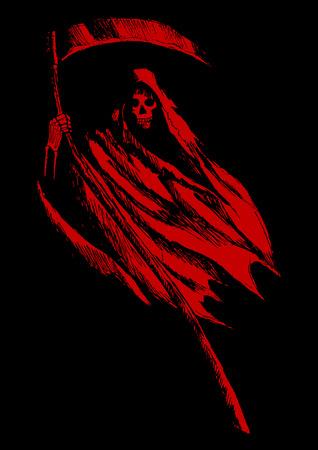 Schets illustratie van de grim reaper op zwarte achtergrond