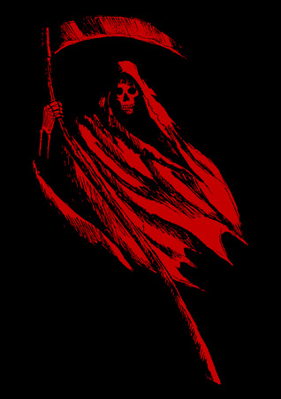 haunt: Sketch illustration of grim reaper on black background