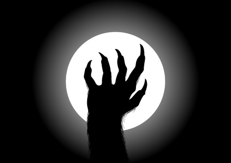 cursed: Silhouette illustration of werewolf hand against the full moon