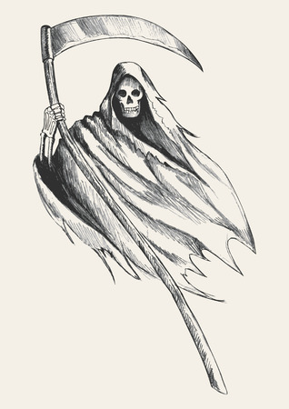 Sketch illustration of grim reaper Vector