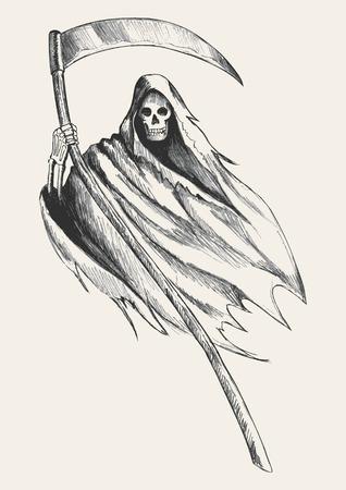 Sketch illustration of grim reaper Vector