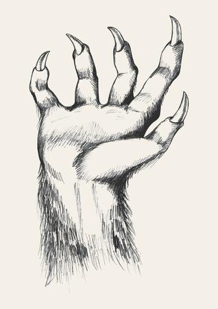 cursed: Sketch illustration of werewolf hand