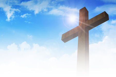 worship praise: A cross on clouds background Stock Photo