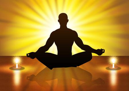 Silhouette illustration of a male figure meditating illustration