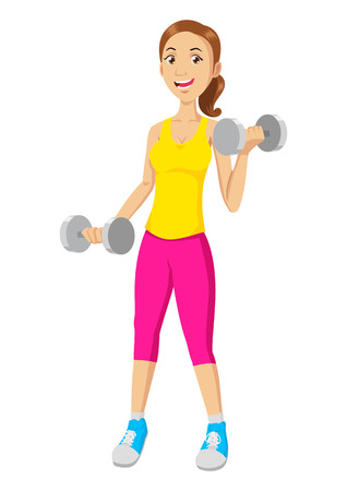 Cartoon illustration of a woman exercising with dumbbells Vectores
