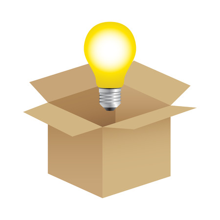 thinking out of the box: Illustration of a bulb out from the box, thinking out of the box concept Illustration