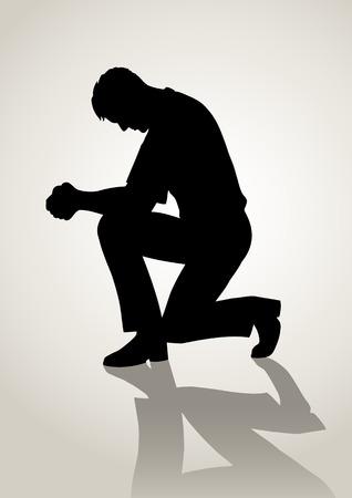 arrodillarse: Ilustración de la silueta de un hombre de oración Vectores