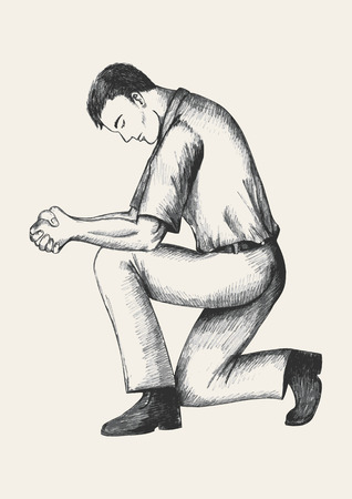 hombre orando: Ilustración Boceto de un hombre de oración