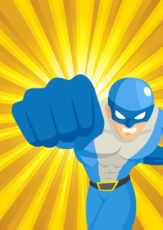 Cartoon illustration of a superhero punching through with light burst as the background Vector