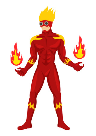 Cartoon illustration of a superhero in cool suit 矢量图像