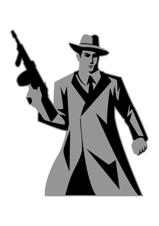 gangsters: Icon illustration of a man holding a tom gun