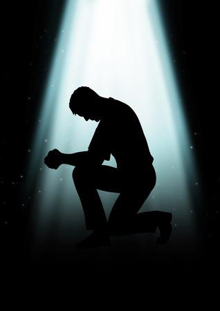 光の下で祈っている人のシルエット イラスト