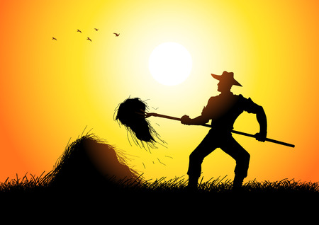 Silhouette illustration of a farmer with a pitchfork collecting hay Vector