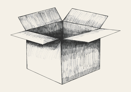 hand outline: Sketch illustration of an open box Illustration