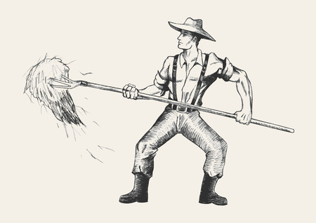 hard working man: Sketch illustration of a farmer with a pitchfork collecting hay