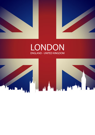 London skyline on United Kingdom Flag Vector