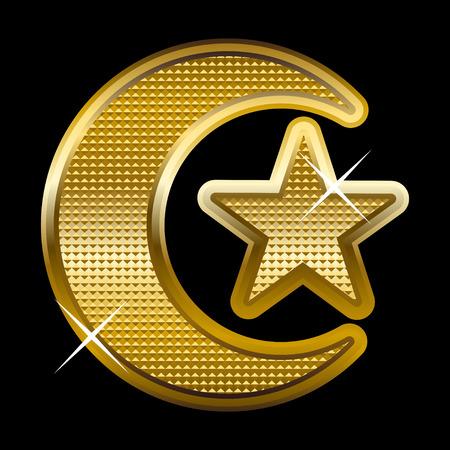 golden religious symbols: Illustration of a golden crescent and star Illustration