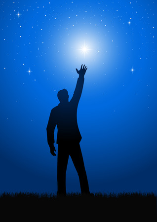 star man: Silhouette of a male figure reaching out for the star